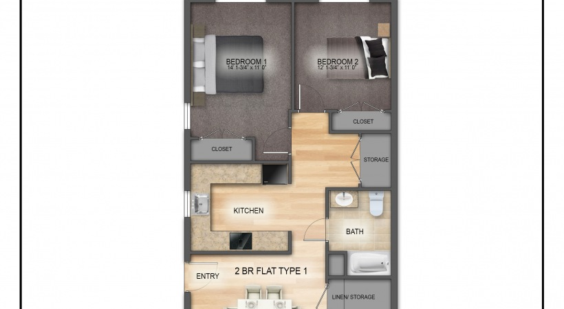 Typical 2 Bedroom Floorplan